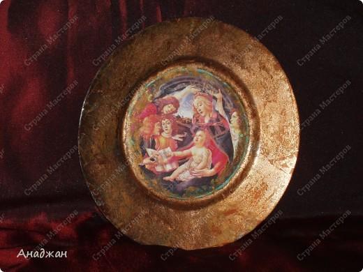 """Часы """" Мадонна"""" Основа дерево, рисовая карта, мозаика. Рельефная паста, акриловые краски фото 4"""