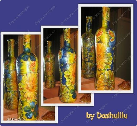 """Бутыль цветочная """"Синее и желтое"""" фото 4"""
