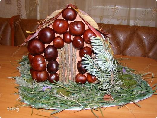 Такой домик и полянку мы с дочкой сделали на школьную выставку, посвящённую дарам Осени. Ведь Осень - неоценимая помощница нашим творениям. Она и материал даёт, и вдохновение - твори!!! фото 3