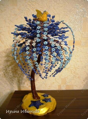"""Пусть будет """"Звездный путь""""))) Дерево состоит из 50 фиолетовых веточек по 12 петель и 15 трехцветных веточек по 32 петли. фото 3"""