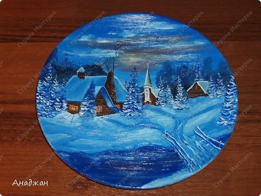 Керамическая тарелка. Написана маслом. фото 2