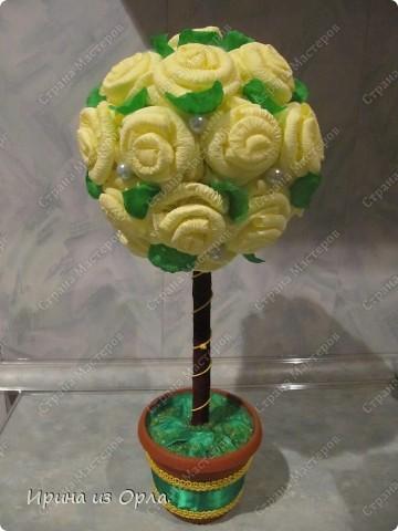 """Не могу остановиться! Заболела """"выращиванием"""" розовых деревьев из салфеток! Купила салфетки лимонного цвета и получился такой """"лимонный пломбир"""". Это деревце я подарю на день рождения. фото 1"""