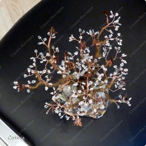 К очередному дню рождения на работе соорудила такое романтичное деревце. Бисер рубка розового и серо-розового оттенка, бабочки-пайетки, ствол - свалян из  шерсти сухим способом и потом подкрашен акварелью (  такой ствол можно гнуть и менять форму дереву). фото 3