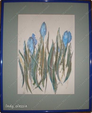"флористический коллаж ""Голубые тюльпаны"""