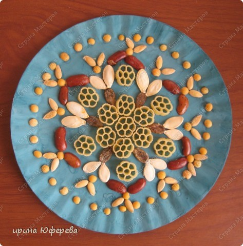 Апликация в круге с использованием семян (альбом) фото 5