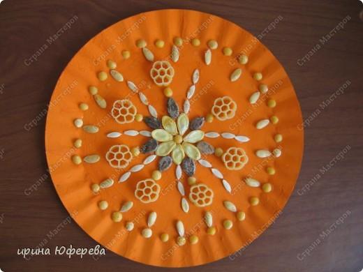 Апликация в круге с использованием семян (альбом) фото 6