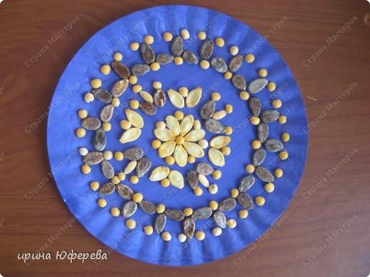 Апликация в круге с использованием семян (альбом) фото 7