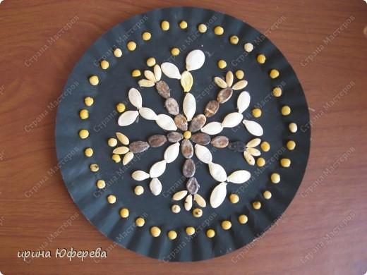 Апликация в круге с использованием семян (альбом) фото 9