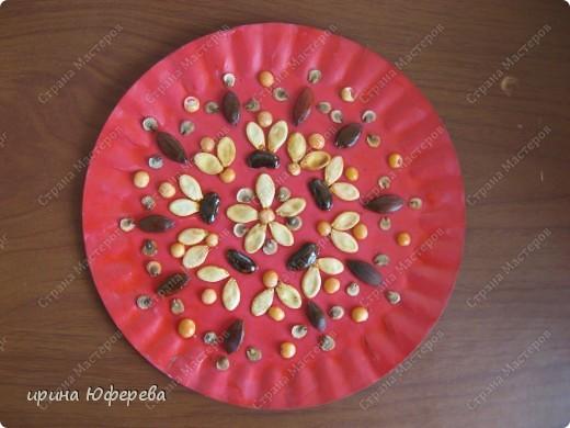 Апликация в круге с использованием семян (альбом) фото 13