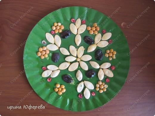 Апликация в круге с использованием семян (альбом) фото 15