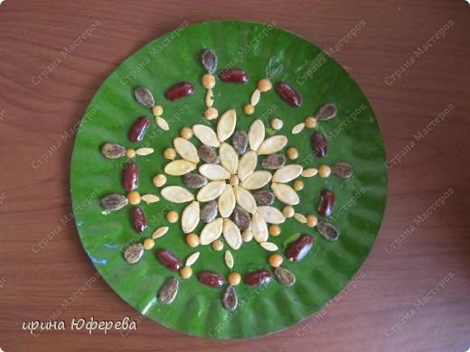 Апликация в круге с использованием семян (альбом) фото 17