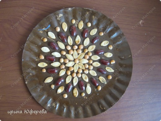 Апликация в круге с использованием семян (альбом) фото 18
