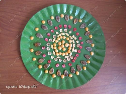 Апликация в круге с использованием семян (альбом) фото 25