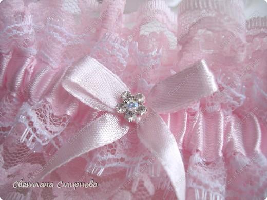 """Свадебная подвязка """"Розовые облака"""" фото 2"""