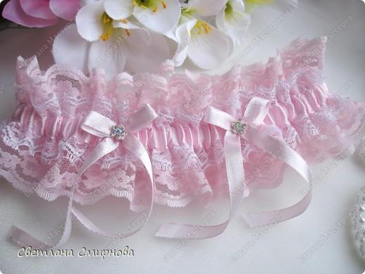 """Свадебная подвязка """"Розовые облака"""" фото 1"""