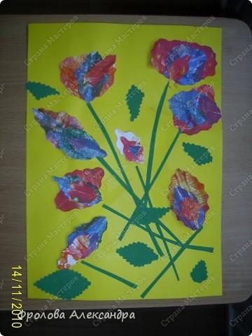 Цветы. Монотипия. Бумага гофрированная самоклеющаяся фото 1