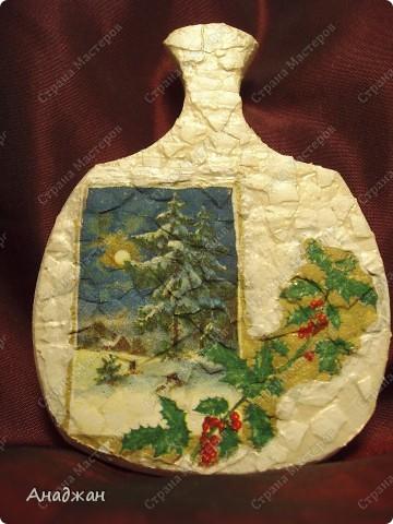 Вот попали ко мне досочки, решила над ними поворковать. Думаю очень хороший подарок на Новый год. Основа дерево, салфетки, акриловая рельефная паста грубая. Акриловая паста художественная. фото 8