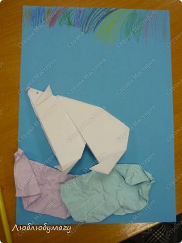Картина панно рисунок Поделка изделие Раннее развитие Оригами Белый медведь Бумага фото 1