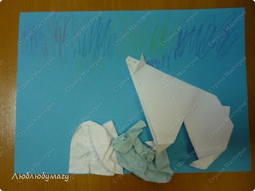 Картина панно рисунок Поделка изделие Раннее развитие Оригами Белый медведь Бумага фото 6
