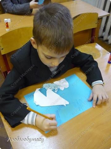 Картина панно рисунок Поделка изделие Раннее развитие Оригами Белый медведь Бумага фото 7