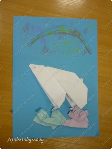 Картина панно рисунок Поделка изделие Раннее развитие Оригами Белый медведь Бумага фото 5