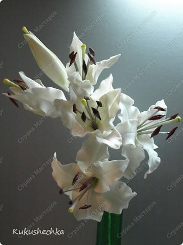 Ветка белой лилии ХФ | Страна Мастеров: http://stranamasterov.ru/node/114118