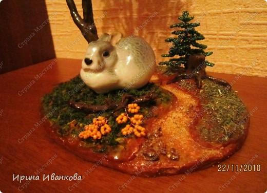 Вот такой зайчишка-трусишка получился, а именно его я считаю главным героем этой композиции))) фото 2