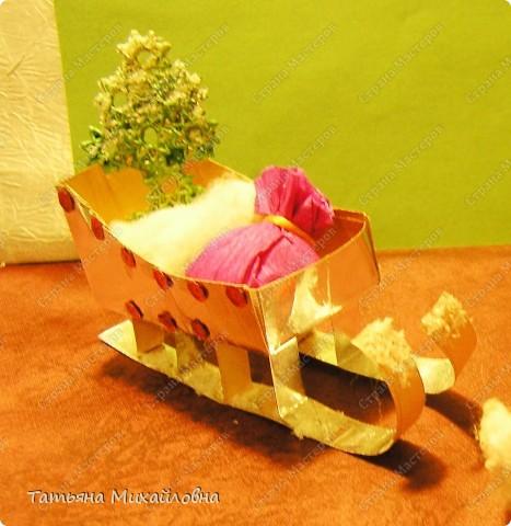 Мастер-класс Поделка изделие Раннее развитие Новый год Бумагопластика Сани для Деда Мороза Картон фото 1