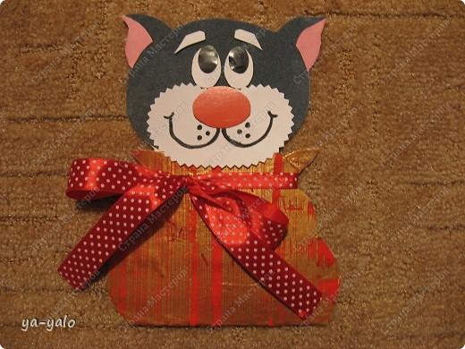Грядет год кота, и вот такая придумалась открытка. Решила сделать МК. Делаю первый раз - прошу снисхождения.   фото 20