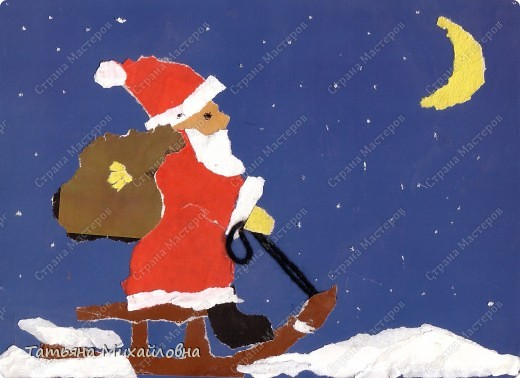 """Даже самые маленькие хотят делать подарки близким. Можно попробовать сделать большую открытку. Техника очень простая: малыш рвет кусочки. Для ангела выберете подходящие, а  снег, елочку и следы Деда Мороза малыш нарвер и наклеит сам. """"Снег"""" получается у всех! фото 7"""