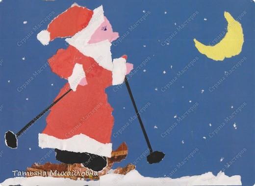 """Даже самые маленькие хотят делать подарки близким. Можно попробовать сделать большую открытку. Техника очень простая: малыш рвет кусочки. Для ангела выберете подходящие, а  снег, елочку и следы Деда Мороза малыш нарвер и наклеит сам. """"Снег"""" получается у всех! фото 10"""