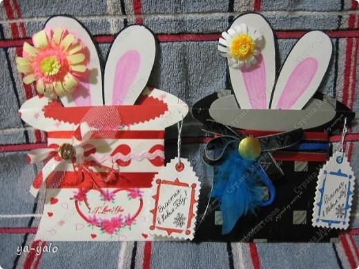 """Дорогие мастерицы! Огромное спасибо вам за многочисленные отклики на МК """"КОТ В МЕШКЕ"""" http://stranamasterov.ru/node/115412.  Ваши теплые слова не пропали даром - вот придумалась еще одна (В нескольких экземплярах) открытка. Теперь главный герой - кролик. И не просто кролик, а в шляпе фокусника фото 35"""