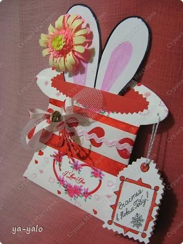"""Дорогие мастерицы! Огромное спасибо вам за многочисленные отклики на МК """"КОТ В МЕШКЕ"""" http://stranamasterov.ru/node/115412.  Ваши теплые слова не пропали даром - вот придумалась еще одна (В нескольких экземплярах) открытка. Теперь главный герой - кролик. И не просто кролик, а в шляпе фокусника фото 2"""