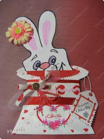 """Дорогие мастерицы! Огромное спасибо вам за многочисленные отклики на МК """"КОТ В МЕШКЕ"""" https://stranamasterov.ru/node/115412.  Ваши теплые слова не пропали даром - вот придумалась еще одна (В нескольких экземплярах) открытка. Теперь главный герой - кролик. И не просто кролик, а в шляпе фокусника фото 3"""