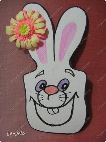 """Дорогие мастерицы! Огромное спасибо вам за многочисленные отклики на МК """"КОТ В МЕШКЕ"""" http://stranamasterov.ru/node/115412.  Ваши теплые слова не пропали даром - вот придумалась еще одна (В нескольких экземплярах) открытка. Теперь главный герой - кролик. И не просто кролик, а в шляпе фокусника фото 7"""
