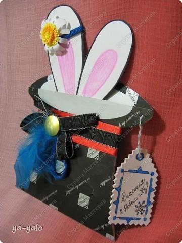 """Дорогие мастерицы! Огромное спасибо вам за многочисленные отклики на МК """"КОТ В МЕШКЕ"""" https://stranamasterov.ru/node/115412.  Ваши теплые слова не пропали даром - вот придумалась еще одна (В нескольких экземплярах) открытка. Теперь главный герой - кролик. И не просто кролик, а в шляпе фокусника фото 9"""
