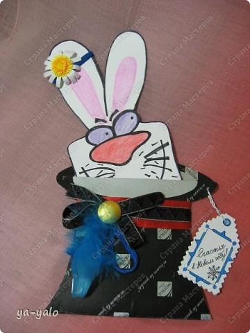 """Дорогие мастерицы! Огромное спасибо вам за многочисленные отклики на МК """"КОТ В МЕШКЕ"""" https://stranamasterov.ru/node/115412.  Ваши теплые слова не пропали даром - вот придумалась еще одна (В нескольких экземплярах) открытка. Теперь главный герой - кролик. И не просто кролик, а в шляпе фокусника фото 10"""