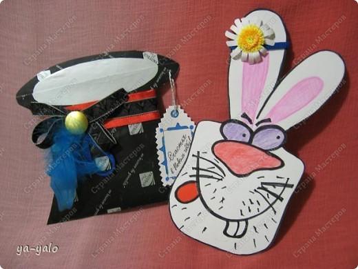 """Дорогие мастерицы! Огромное спасибо вам за многочисленные отклики на МК """"КОТ В МЕШКЕ"""" http://stranamasterov.ru/node/115412.  Ваши теплые слова не пропали даром - вот придумалась еще одна (В нескольких экземплярах) открытка. Теперь главный герой - кролик. И не просто кролик, а в шляпе фокусника фото 11"""