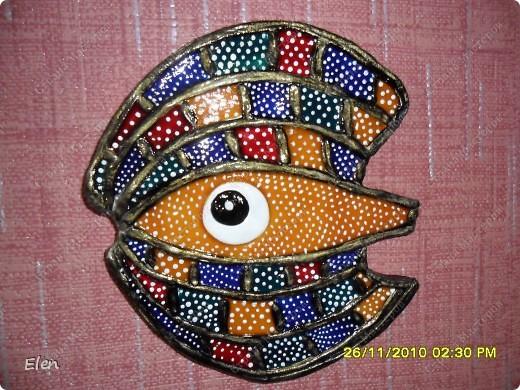 гипсовая рыбка роспись акриловыми красками+витражные контуры фото 2