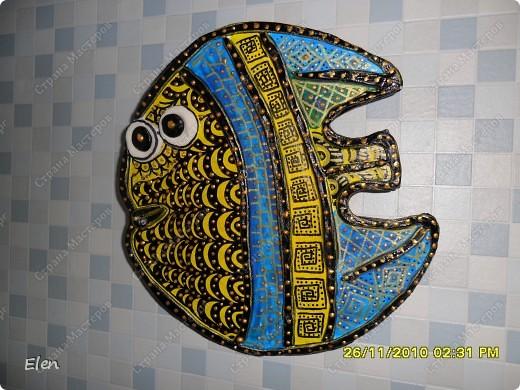 гипсовая рыбка роспись акриловыми красками+витражные контуры фото 1