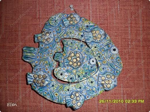 гипсовая рыбка роспись акриловыми красками+витражные контуры фото 5