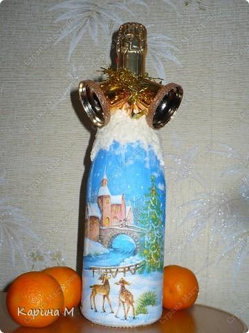 Второй раз украшаю бутылочки к НГ)) фото 1