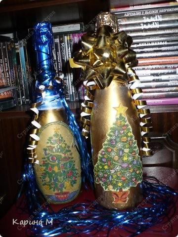 Второй раз украшаю бутылочки к НГ)) фото 4