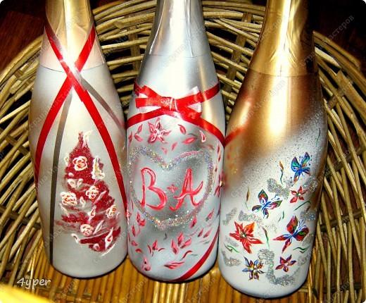 Праздничные бутылки (это на свою свадьбу я рисовала) фото 1