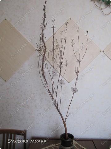 """Эту работу я выполнила на школьный конкурс """"Осень золотая"""", под руководством Кириенко А. В. Это обычная, сухая ветка из школьного сада, а цветочки сделаны из ткани и пайеток. фото 1"""