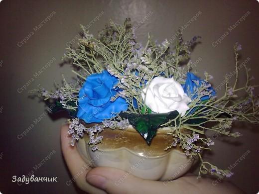 Букетик из пластики с добавлением сухоцвета  фото 4