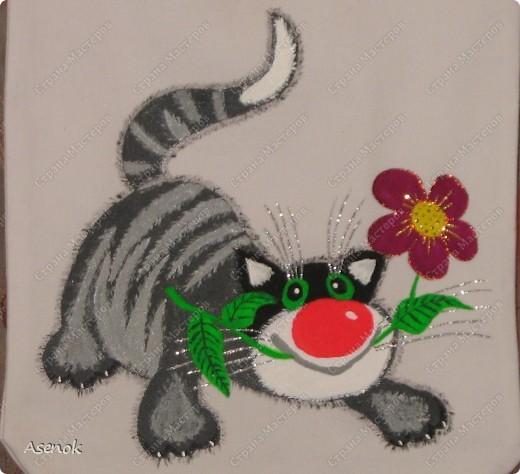 Котик с цветком. Сумка на заказ в подарок на НГ.  фото 1