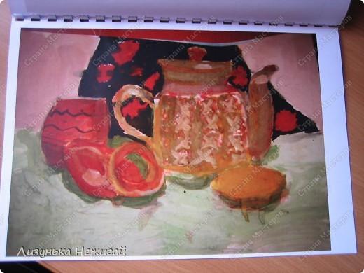 натюрморт с пирогом, лимоном и баранкой