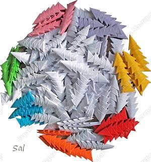 Мастер-класс Поделка изделие Оригами китайское модульное Ваза Радужный Ёж Бумага фото 2