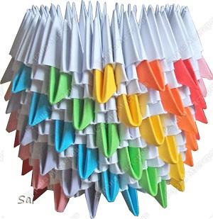 Мастер-класс Поделка изделие Оригами китайское модульное Ваза Радужный Ёж Бумага фото 7